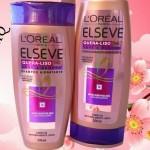 """Shampoo e Condicionador Hidratante Linha Elseve Quera-Liso MQ. """"Naturalmente liso!"""