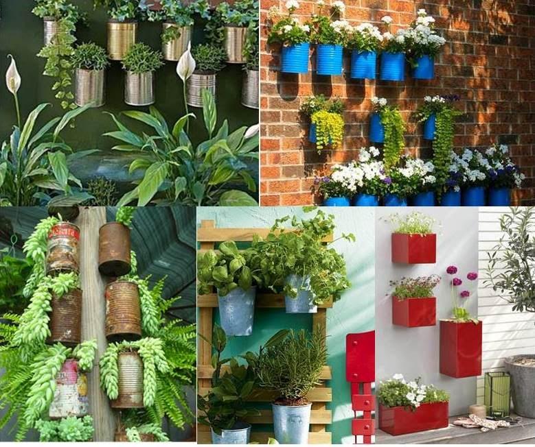 jardim vertical latas:Latas de alimentos e de tinta. Viram vasos charmosos, e dá para