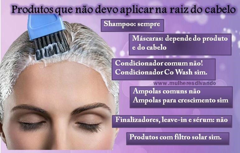 Produto na raiz do cabelo