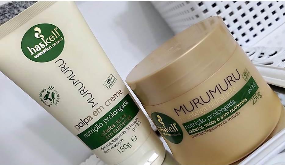Mascara Murumuru Haskell Nutrição Prolongada e Polpa em Creme Murumuru.