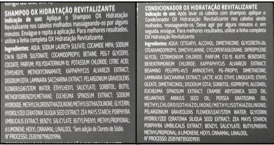 Composição HIDRATAÇÃO REVITALIZANTE OX