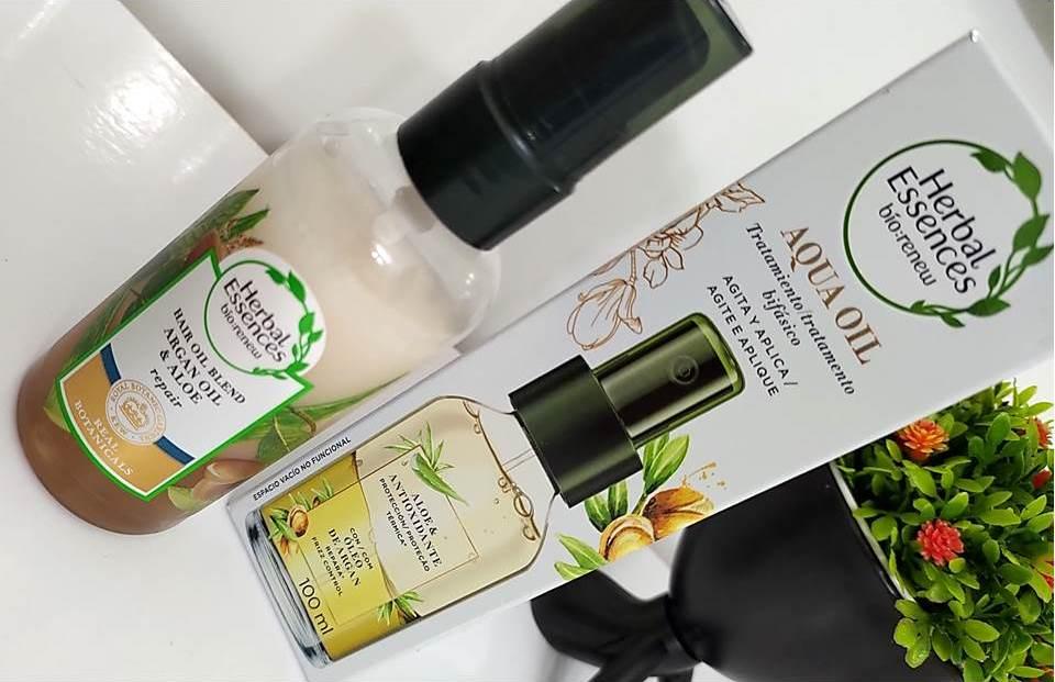 composição Aqua Oil Argan e Babosa Herbal Essences