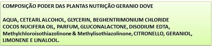 COMPOSIÇÃO DOVE PODER DAS PLANTAS NUTRIÇÃO+GERÂNIO